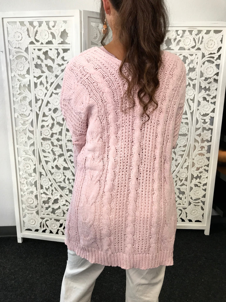 Swipe Up Cardi with Cable Knit Detailing - Pink