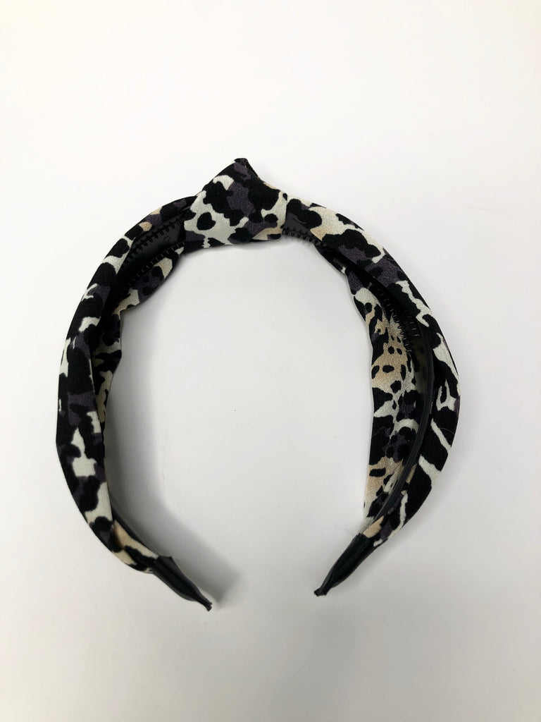 Cheetah headband with knot detail - grey with tan