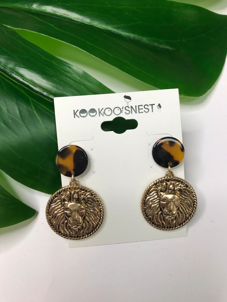 Tortoise and gold coin earrings