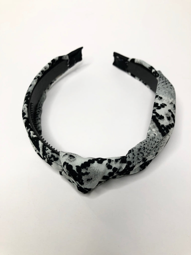 Snake headband with knot detail- grey with black