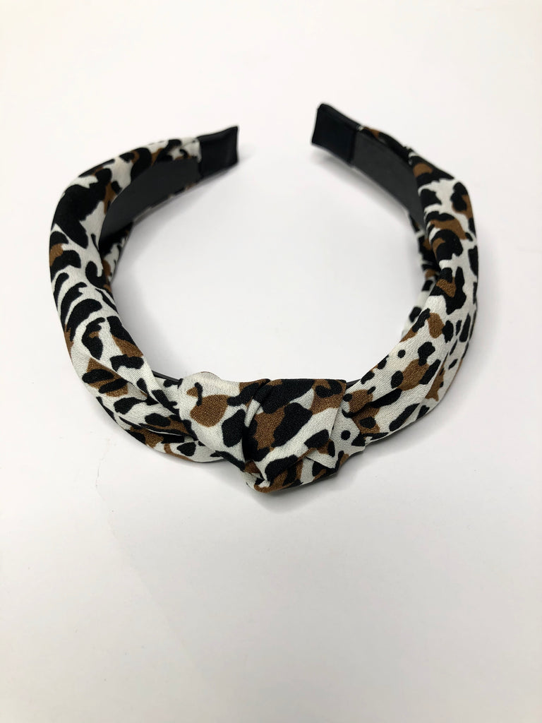 Cheetah headband with knot detail - white with brown