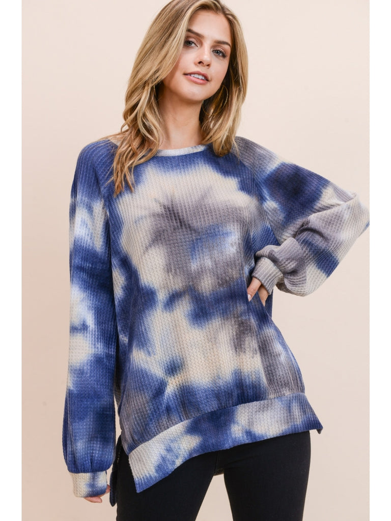 Small - Inky Tie Dye Waffle Knit Top with Bubble Sleeve - Blue
