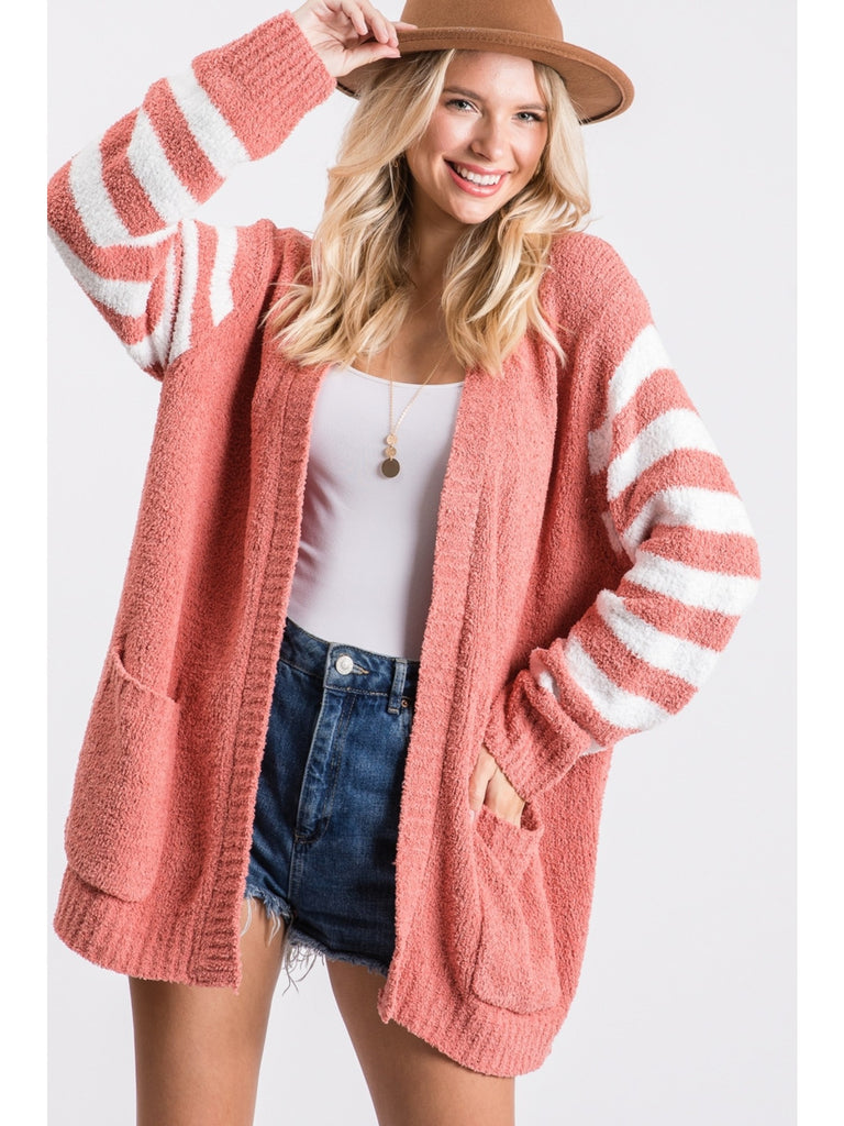 LARGE - Cuddle Me Open Cardigan - Berry & Off White