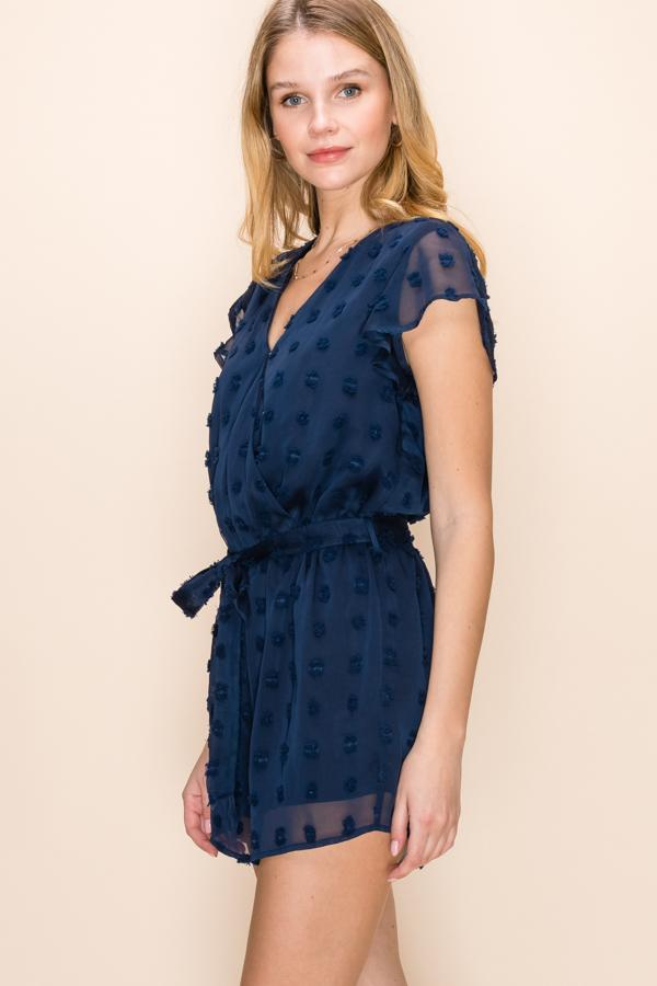Talk About It Romper - Navy
