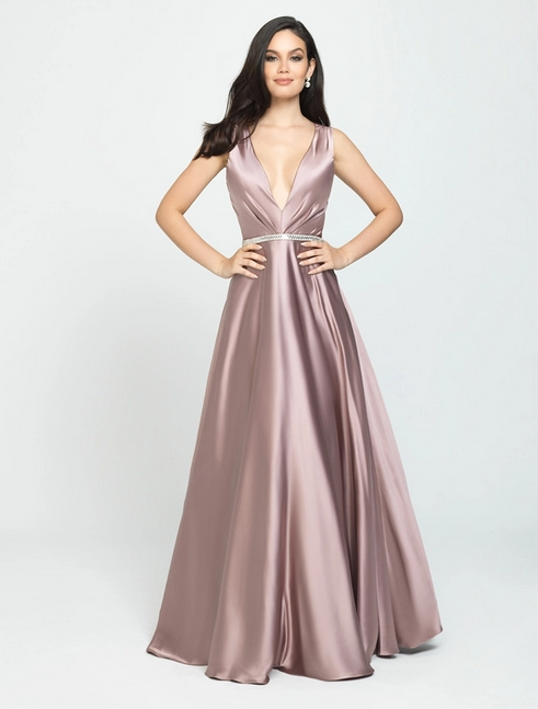 Madison James 19-204 Prom 2019 Flowy Gown, IN STOCK TAUPE SIZE 8, BLACK SIZE 14