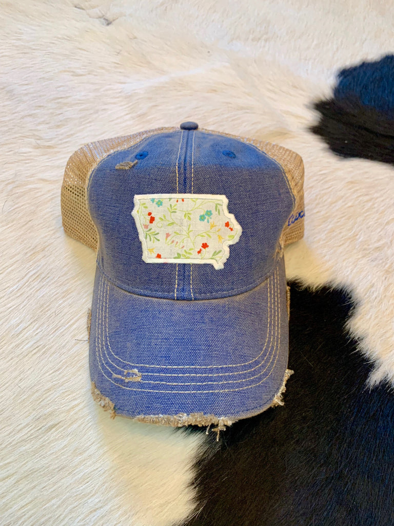Iowa patch hat - ivory floral