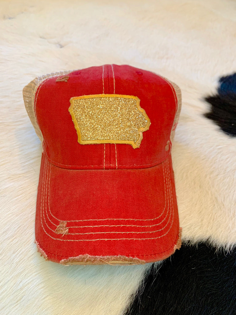 Iowa patch hat - glitter on red