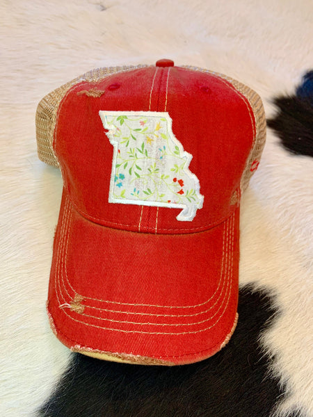 Missouri patch hat - ivory on red