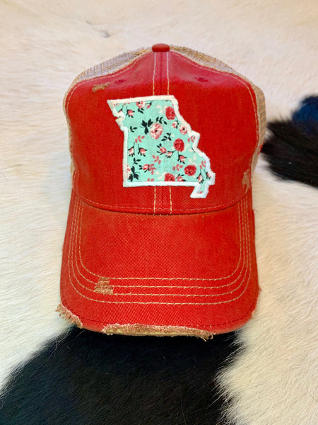Missouri patch hat - teal on red