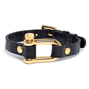 Black Crocodile & Gold Shackle Bracelet