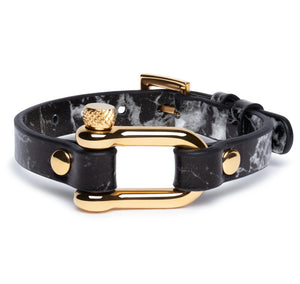 Black Marble & Gold Shackle Bracelet - Equinoxx Design