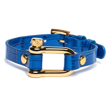Load image into Gallery viewer, Blue Crocodile & Gold Shackle Bracelet - Equinoxx Design