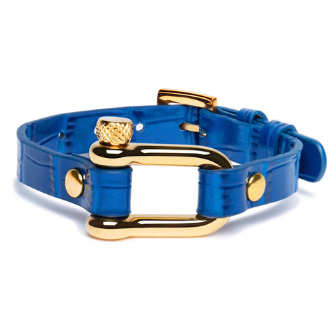 Blue Crocodile & Gold Shackle Bracelet - Equinoxx Design