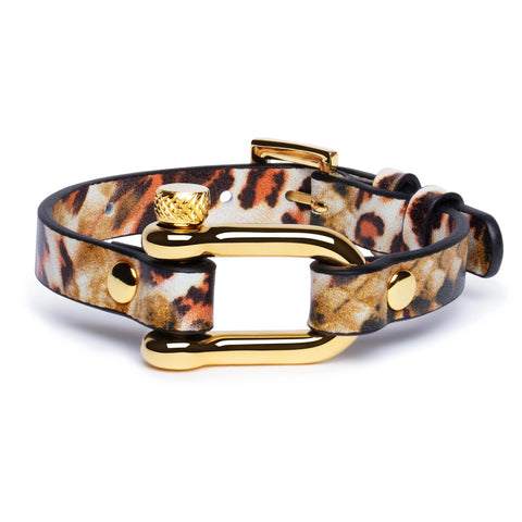 Brown Leopard & Gold Shackle Bracelet - Equinoxx Design