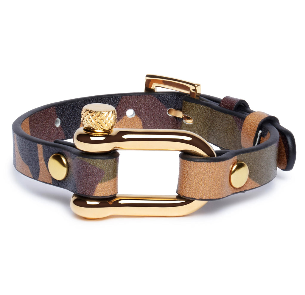 Camouflage & Gold Shackle Bracelet - Equinoxx Design