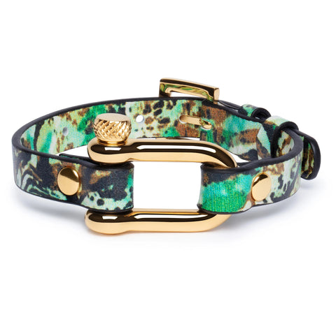Green Leopard & Gold Shackle Bracelet - Equinoxx Design