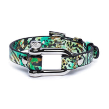 Load image into Gallery viewer, Green Leopard & Silver Shackle Bracelet - Equinoxx Design