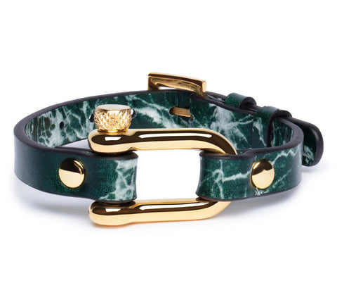 Green Marble & Gold Shackle Bracelet - Equinoxx Design