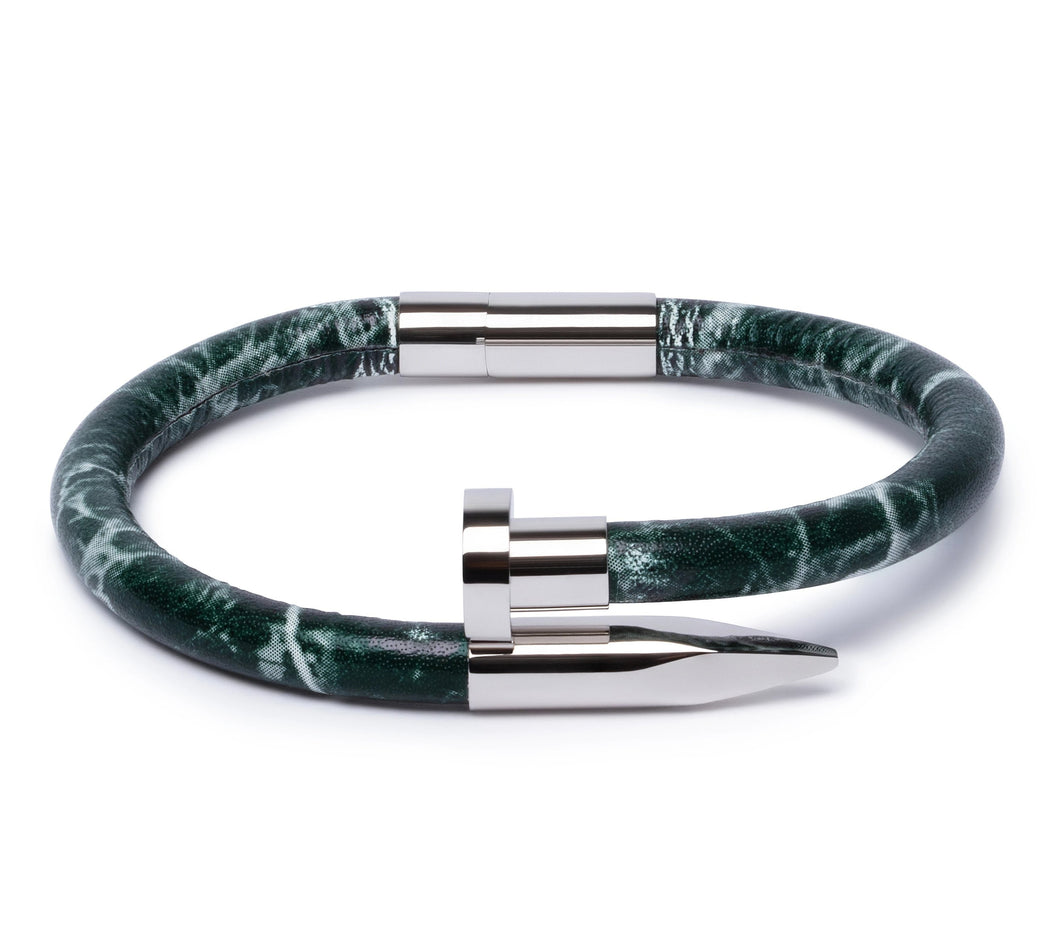 Green Marble Leather & Silver Nail - Equinoxx Design