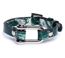 Load image into Gallery viewer, Green Marble & Silver Shackle Bracelet - Equinoxx Design