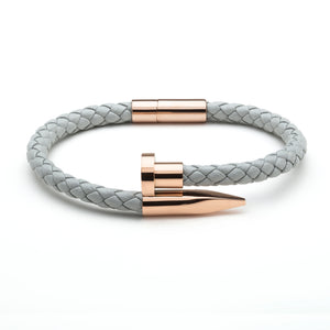 Grey Braided Leather & Rose Gold Nail