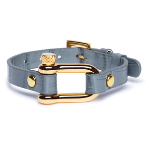 Grey Crocodile & Gold Shackle Bracelet - Equinoxx Design