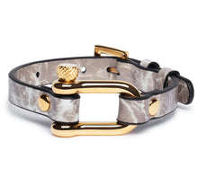 Load image into Gallery viewer, Grey Marble & Gold Shackle Bracelet - Equinoxx Design