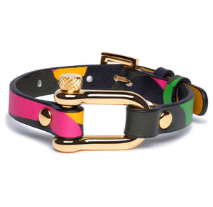 Rainbow Camouflage & Gold Shackle Bracelet - Equinoxx Design