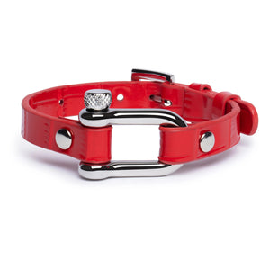 Red Crocodile & Silver Shackle Bracelet - Equinoxx Design