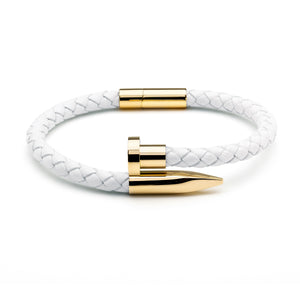 White Braided Leather & Gold Nail - Equinoxx Design