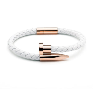 White Braided Leather & Rose Gold Nail - Equinoxx Design