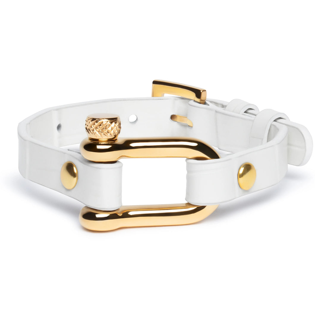 White Crocodile & Gold Shackle Bracelet - Equinoxx Design