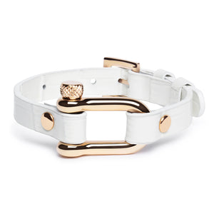 White Crocodile & Rose Gold Shackle Bracelet - Equinoxx Design