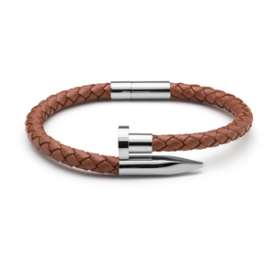 Brown Braided Leather & Silver Nail - Equinoxx Design