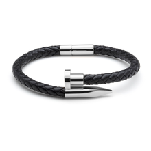 Load image into Gallery viewer, Black Braided Leather & Silver Nail - Equinoxx Design