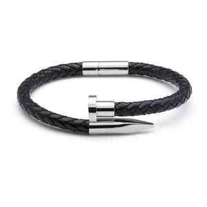 Black Braided Leather & Silver Nail - Equinoxx Design