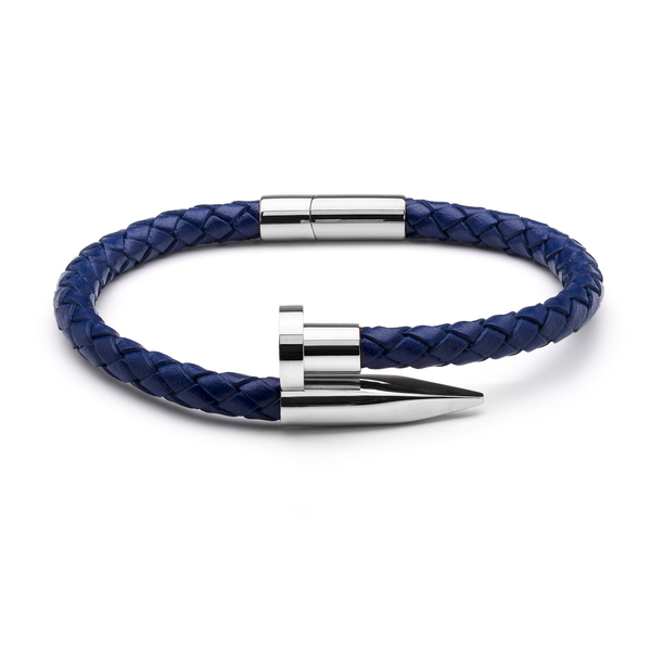 Blue Braided Leather & Silver Nail - Equinoxx Design