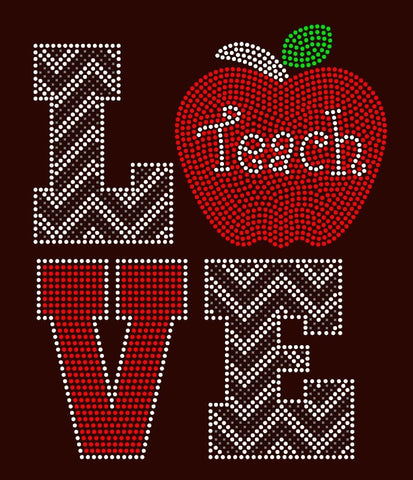 Love Teach with apple Rhinestone T-Shirt