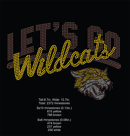 BCU Let's Go Wildcats Rhinestone Digital File
