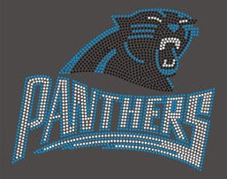 Carolina Panthers with logo Rhinestone TShirt