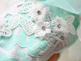 Handmade Mint Green Exquisite Diamond Flower Soft Lace Princess Dog Dress Pet
