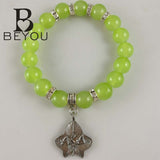 Greek AKA  Sorority  pink and green glass bead  elasticity and  Alpha Kappa  Alpha  Leaf  Legacy bracelet Jewelry