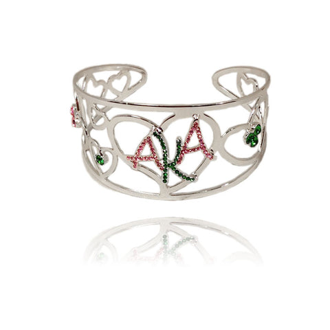 AKA  Alpha Kappa Alpha Sorority  pink and green  heart   bangle Jewelry (10pcs for this listing) RUSH GIFTS