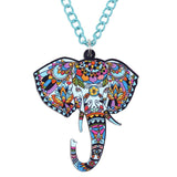 Bonsny Jungle Elephant Necklace Pendant Chain Collar Choker Pendant  Animal Fashion Jewelry