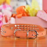 7 Colors 4 Sizes Suede Soft 3 Rows Rhinestone Dog Collar Puppy