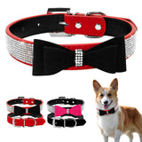 Soft Suede Leather Full Rhinestone Pet Collar For Small Medium Breeds S M L