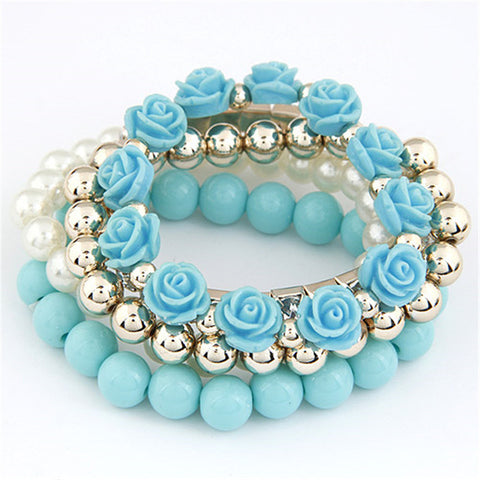 Xiacaier Bracelets For Women Sweet Flower Multilayer Beads Stretch Charm Bracelet Bangle Set