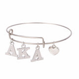 Skyrim AKA Sorority Alpha Kappa Alpha Letter Charms Adjustable Love Bangle Jewelry Silver Tone
