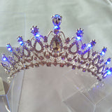 5 Colors Women Wedding Tiara with Light Crystal Luminous Crown Bride Light Tiaras Girls Pageant Party Glowing Crowns Tiaras H113