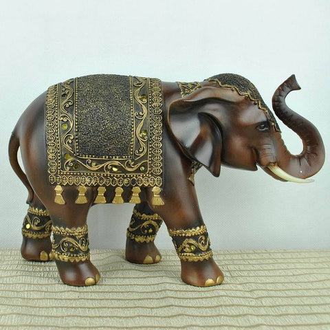 Wood Carved Elephant Animals Decorative Home Accessories